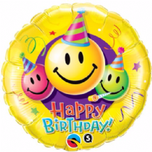 "Birthday Smiley Faces Foil Balloon (18"") 1pc"
